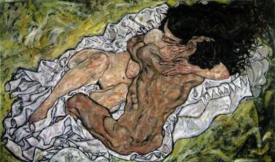 Egon Schiele, Umarmung liebespaar, peinture
