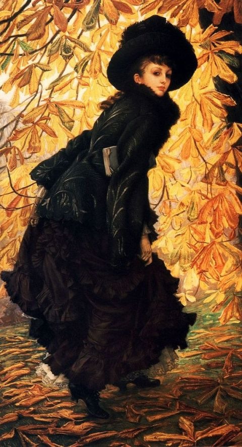 Victorian Woman in Black 1876 Fall Leaves