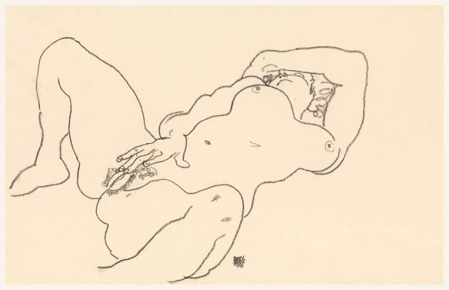 croquis nu couché de Egon Schiele, 1918