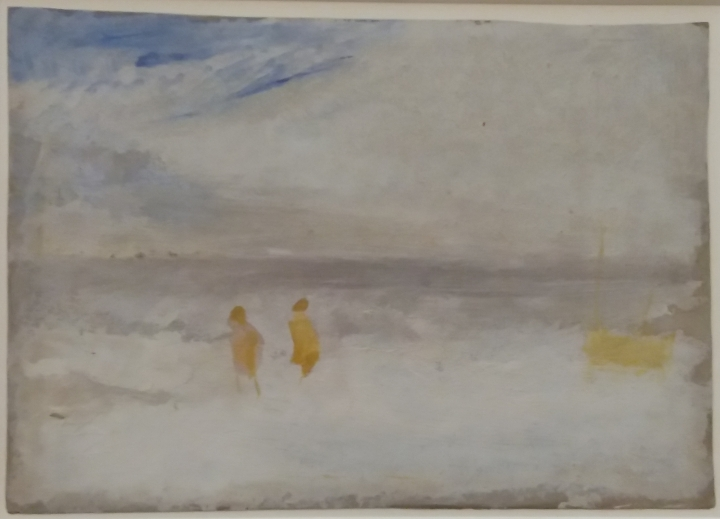 Two figures on a beach with a boat, JMW. Turner